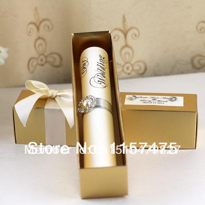 Free Shipping !!! HI2052 - Scroll Wedding Invitation with Golden Box(China (Mainland))