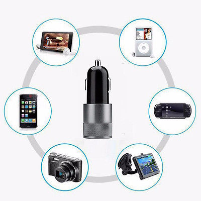 New 2 1A 1A Aluminum material Dual 2 Port Universal USB Car Charger For iPhone 5