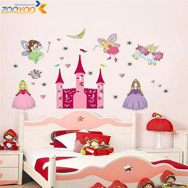 Princess castle heart horse angel wall stickers for kids for Stickers pared baratos