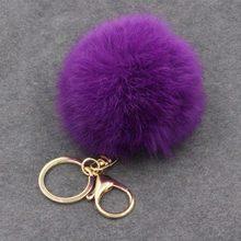 8 CENTÍMETROS violeta Bonito mint rosa verde Couro Genuíno Saco anel chave Do Carro chaveiro bola de pêlo de Coelho Pingente de pele pom pom keychain(China)