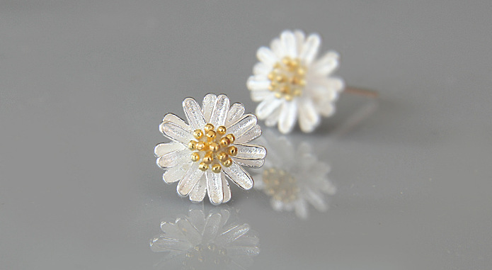 925 Pure Silver Korean Fashion Style Daisy Design Fine Fresh Jewelry Elegant Gorgeous Classic Accessory PayPal Accepted(China (Mainland))