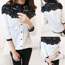 2015 New Lace Floral Women Chiffon Shirt Tops Button Down Long Sleeve Blouse In Forward(China (Mainland))