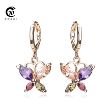 Cweel Party Crystal Stud Earrings For Teen Girls Gold Plated Women Wedding CZ Diamond Bridal Holiday Fashion Earring Accessories(China (Mainland))