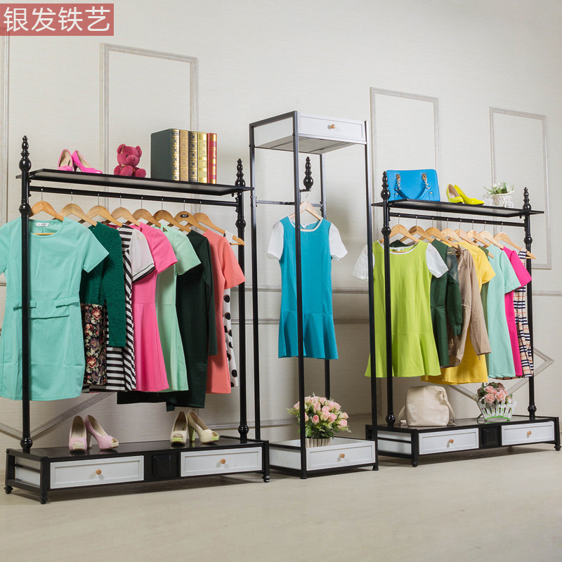 Silver-haired clothing rack clothing display racks clothing display racks floor-women's clothing store shelf with cabinet(China (Mainland))