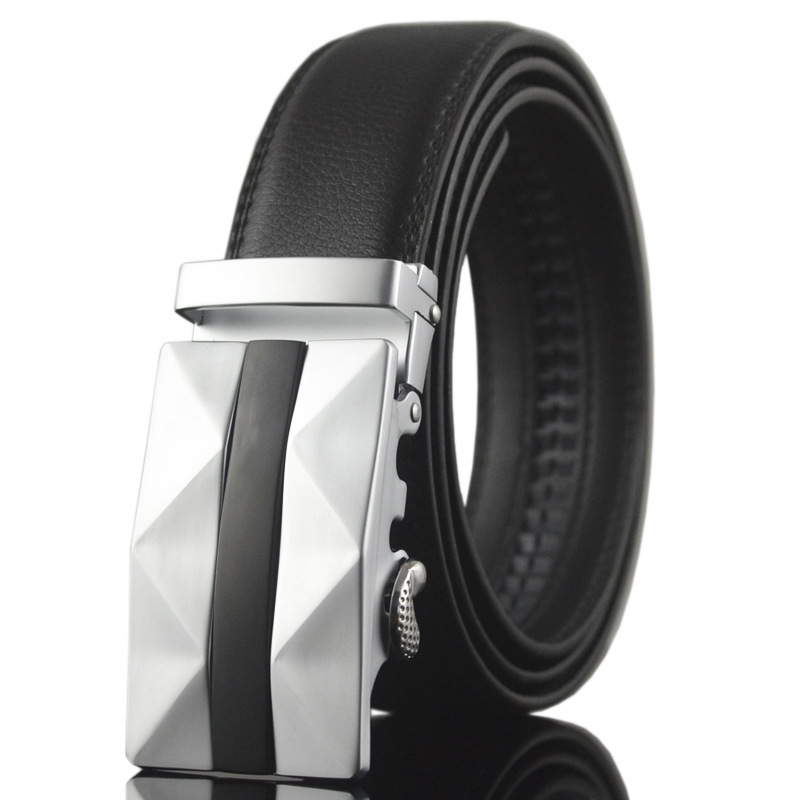 2016 new men fashion cow genine leather belts for men strap male silver metal automatic buckle cinto masculino(China (Mainland))