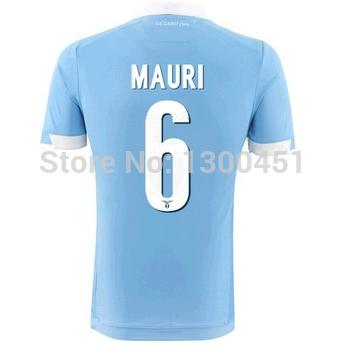 New 14/15 Blue Win Home #6 MAURI Jerseys Light Blue shirt 2014/15 Cheap Soccer Uniforms Football kit(China (Mainland))