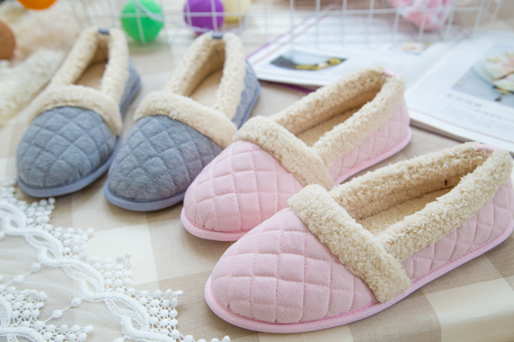 Autumn And Winter Lingge Lamb Warm Simple Indoor Cotton Slippers Women Soft Shoes Chausson Femme Schoenen(China (Mainland))