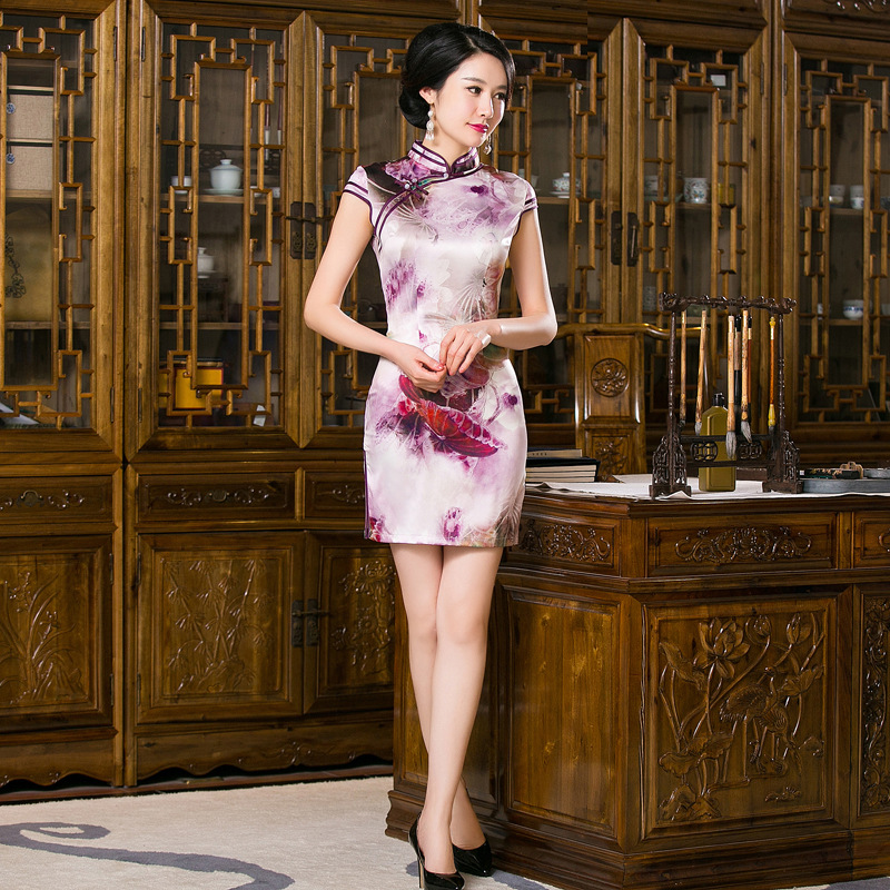 New Arrival Chinese Traditional Womens Mandarin Collar Printing Silk Qipao Mini Cheong-sam Dress S M L XL XXL F201658Одежда и ак�е��уары<br><br><br>Aliexpress