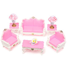 9Pcs Cute Cartoon Princess Kids Dream Dollhouse Toy Sofa Chair Couch Desk Lamp Furniture Set Toys Disassembled For Doll Decor(China (Mainland))