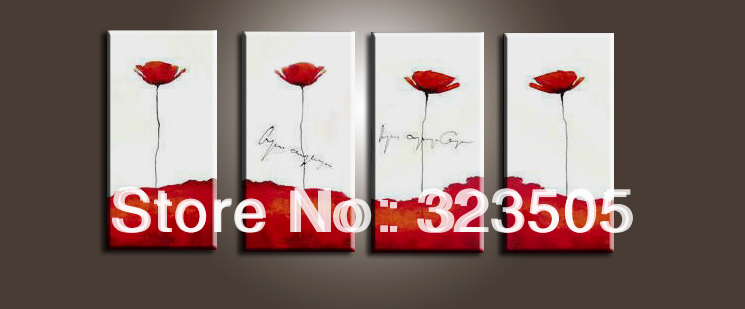 4 panel wall art canvas cheap Modern abstract flower red poppy artwork art picture oil painting set for sale free shipping(China (Mainland))