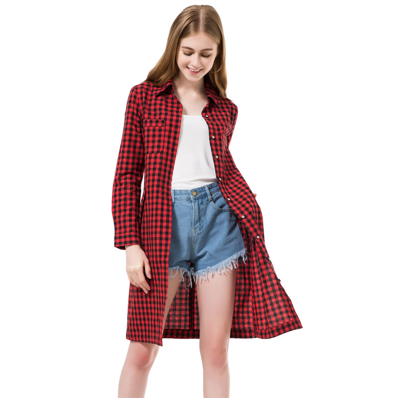 2016 flannel women long shirts red plaid blouses long Womens red plaid shirts blouses