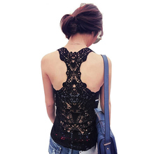 2015 Summer Style New Fashion Womens Tank Top Sexy Lace Crochet Back Hollow-out Woman Camisole Vest Bustier Regata Feminina(China (Mainland))