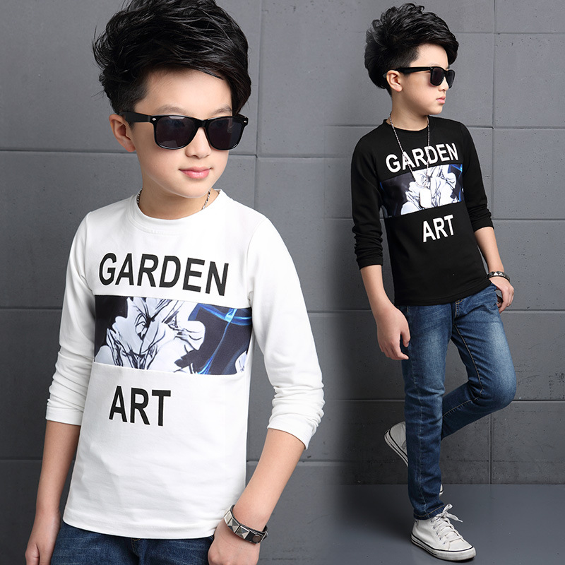 5 6 7 8 9 10 11 12 13 Years Boy T Shirt Long Sleeve Letter Bottoming Shirt Winter Autumn Warm Teenagers Shirts For Boys Teens(China (Mainland))