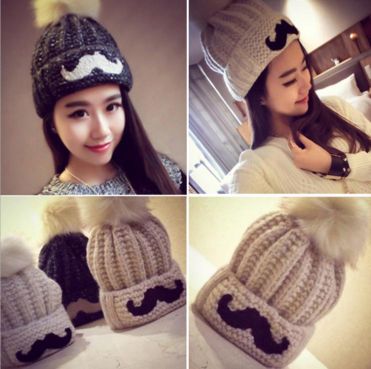 OMH wholesale 5 color choose woman's fashion novelty outdoor winter warm knitting Beard graphics Heavy hair ball hats caps MZ44(China (Mainland))