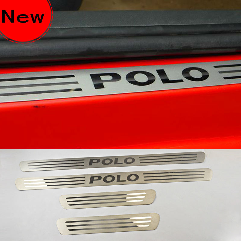 VW Polo car Stainless Steel Door Sill Scuff Plate Article threshold auto accessories(China (Mainland))