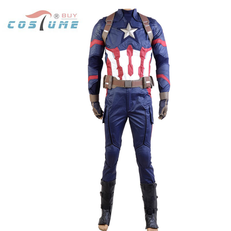 Avengers 2016 Hot Movie Captain American 3 Civil War Steve Rogers Uniform Halloween Party Cosplay Costume For Adult Men New