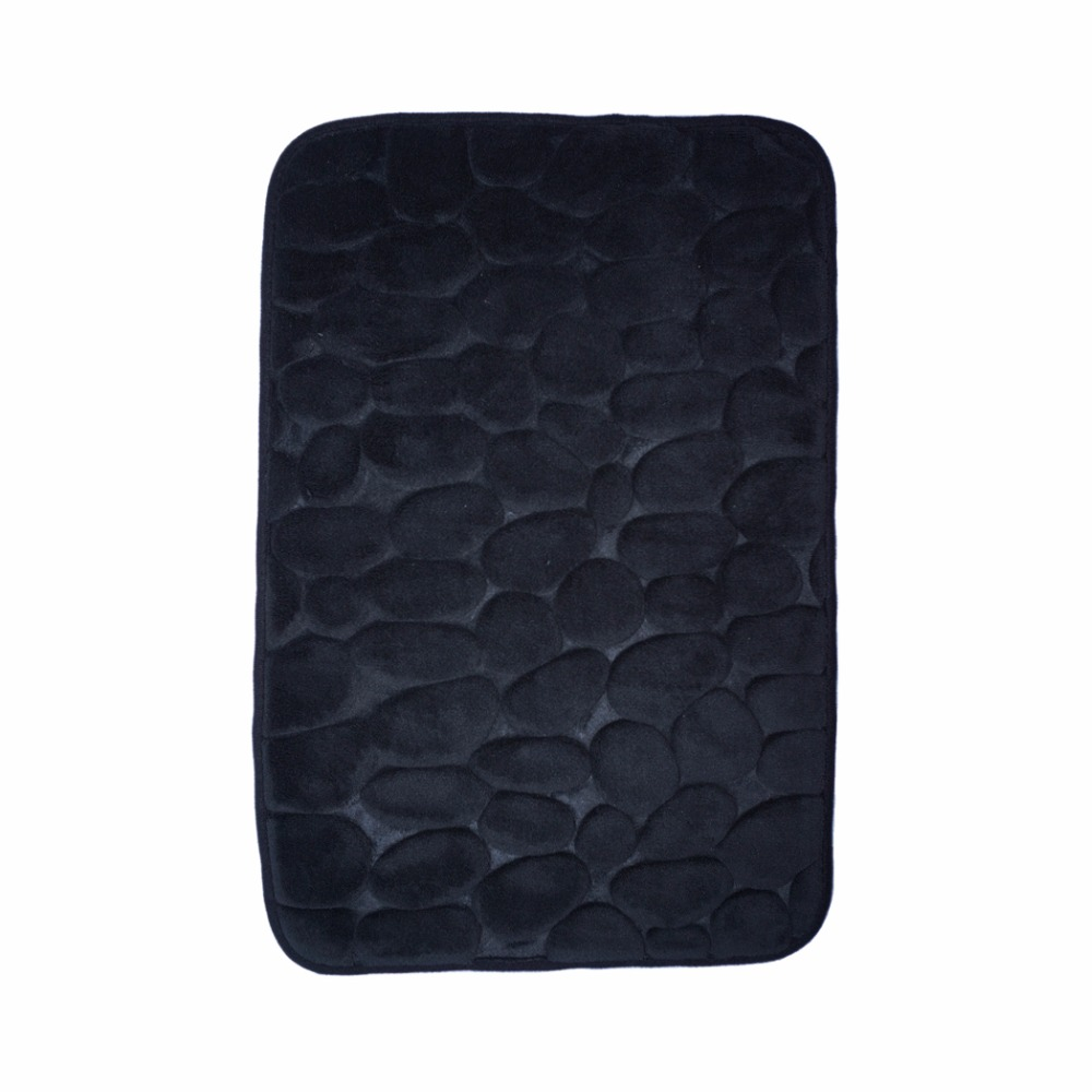 "40x60cm/15.7""Wx23.6""L Black 3D stone memory foam bath mat bathroom(China (Mainland))"