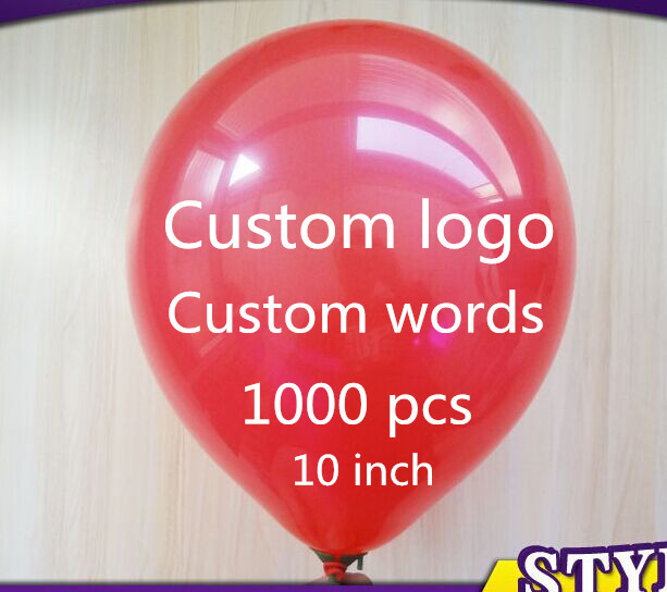 1000 pcs Personalized custom Balloons Logo/Words Free Design Free Print 10 inch Latex Balloons For Party/Event Free Shipping(China (Mainland))