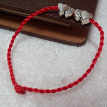 New Fashion Jewelry KABBALAH Kabbalah Red String Rope Double Heart Beaded Charms Bracelet Bangles For Women Gifts 10pcs(China (Mainland))