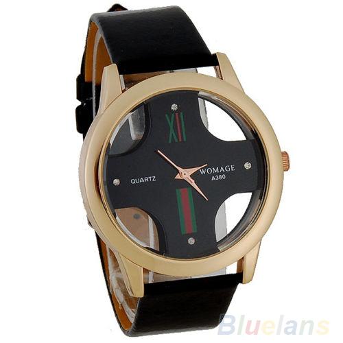 Men's New Stylish Skeleton Dial Faux Leather Analog Wrist Watch Cross Wristwatch 000X 01BX(China (Mainland))