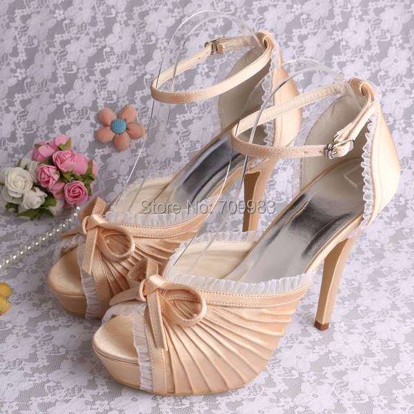 Customized Champagne Colors High Heels Wedding Shoes Bridal Shoes Platform 14 Colors FREE