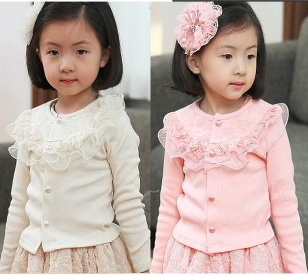 2013 Autumn Fashion Ruffles Lace girls Cardigans / Outerwear / Jacket For Kids wear Garment Pink White Free shipping(China (Mainland))