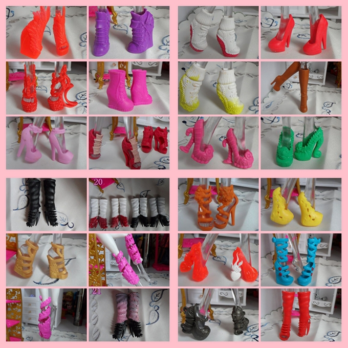 High Recommended Mixed Style Beautiful Boots Sandles 1/6 Dolls Shoes Original Monster Doll Shoes Factory Wholesale 100 Paris/lot<br><br>Aliexpress