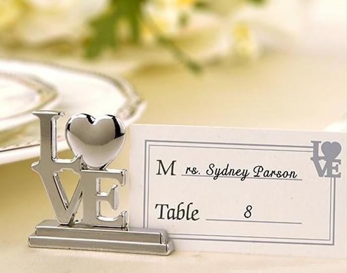 200pcs place card holder and 200pcs plain card Love Wedding Table Place Card Holder Bridal Shower Wedding Souvenirs Favor(China (Mainland))