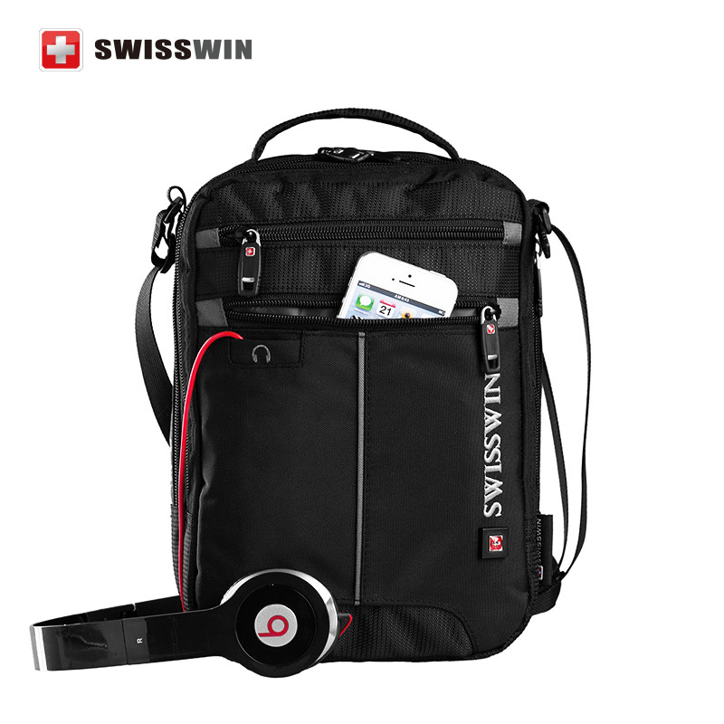 Swisswin Messenger Shoulder Bag 11 inch Black Bag for Ipad handy crossbody bag for students Casual Oxford Messenger Satchel(China (Mainland))