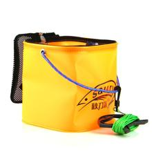 Free shipping Knife eva folding bucket square fishing bucket compouna fish bucket box+water carrying rope(China (Mainland))