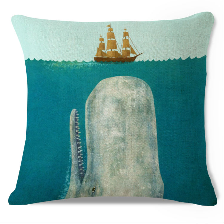 Decorative Throw Pillow Case White Whale Moby Dick Ship Sea Nautical Cotton Linen HEAVY WEIGHT FABRIC Sofa Chair Cushion Cover(China (Mainland))