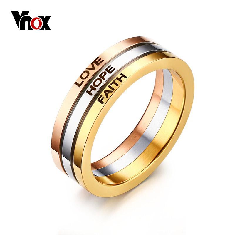 Vnox Three Tone Mix Color Rings for Women LOVE HOPE FAITH Wedding Band Ring(China (Mainland))
