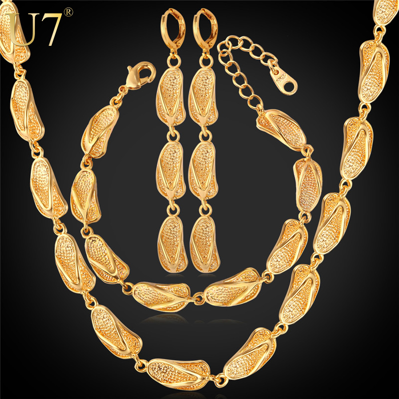 U7 Dubai Gold Plated Jewelry Sets For Women 18K Gold Plated Sandal Shapes Earrings Bracelet Necklace Set African Jewelry S659