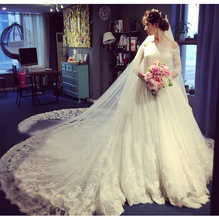 2016 bridal plus size boat neck long-sleeve Royal train lace wedding dress Vestido De Noiva 2016 Wedding Dresses Robe De Mariee(China (Mainland))