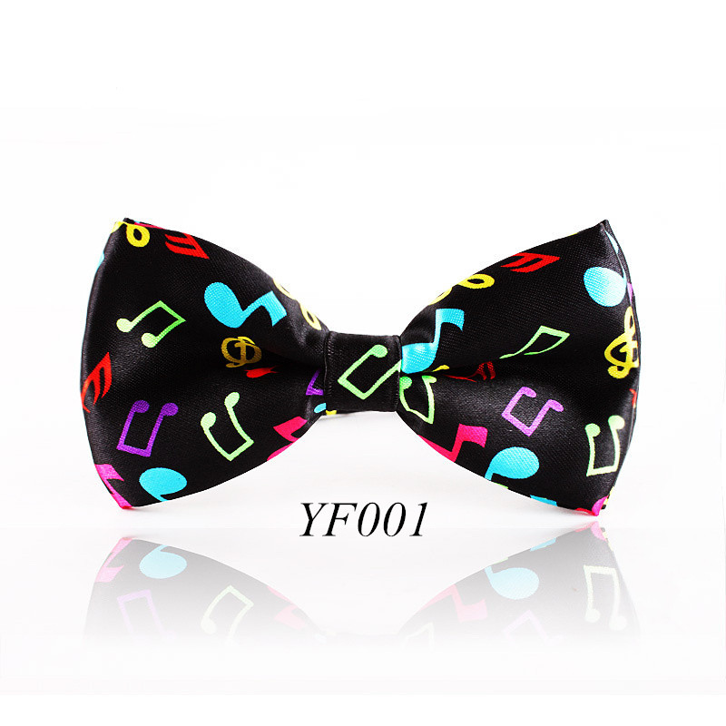 Fashion Colorful Musical Note Bowtie Black Music Pattern Bow Tie For Men Women Novelty Cravat Leisure Cool Brand(China (Mainland))