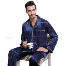 Mens Silk Satin Pajamas  Pyjamas  Set  Sleepwear Set  Loungewear  U.S. S,M,L,XL,XXL,XXXL,4XL__Fits All  Seasons(China (Mainland))