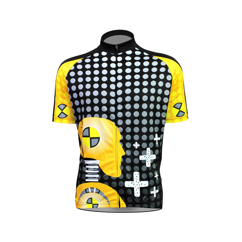 Alien Sports Wear Robot Pattern Bicycle Clothing Men Cross and Polka Dot 2017 Sleeve Cycling Clothes 17(China (Mainland))