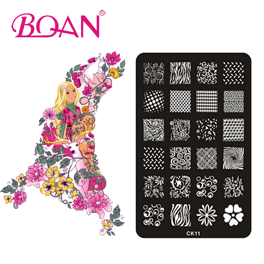 BQAN 10pcs/lot Different Flower/Circular/Grid Patterns Nail Art Stamping CK11(China (Mainland))