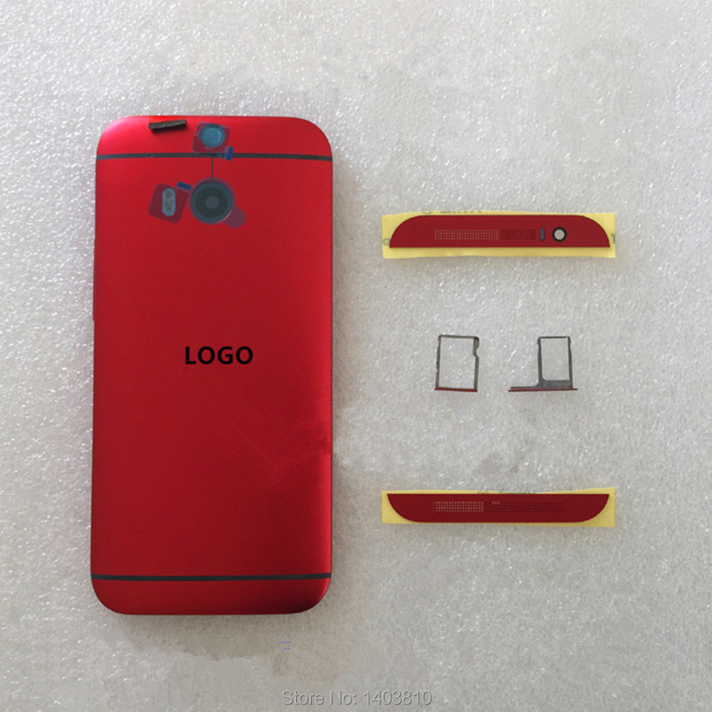 Original Red Blue HTC One M8 Housing Back Cover Battery Door Case Sim SD Card Tray + Top & Buttom Covers - Shenzhen B Young Store store