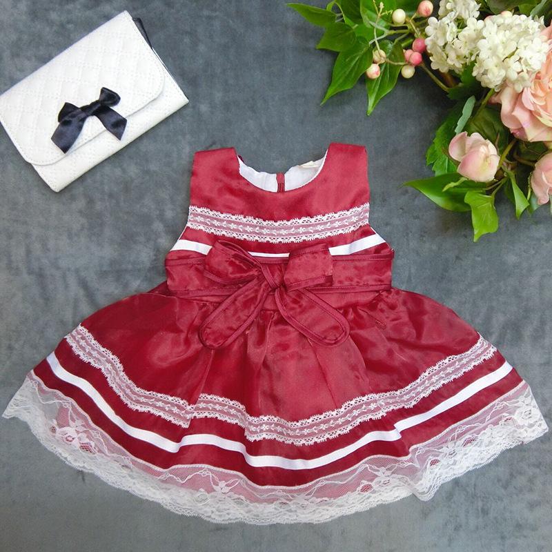 Wholesale high-quality bowknot baby girls dress kid girls lace wedding dress SIZE:6-9-12-18-24-36 2015110-4