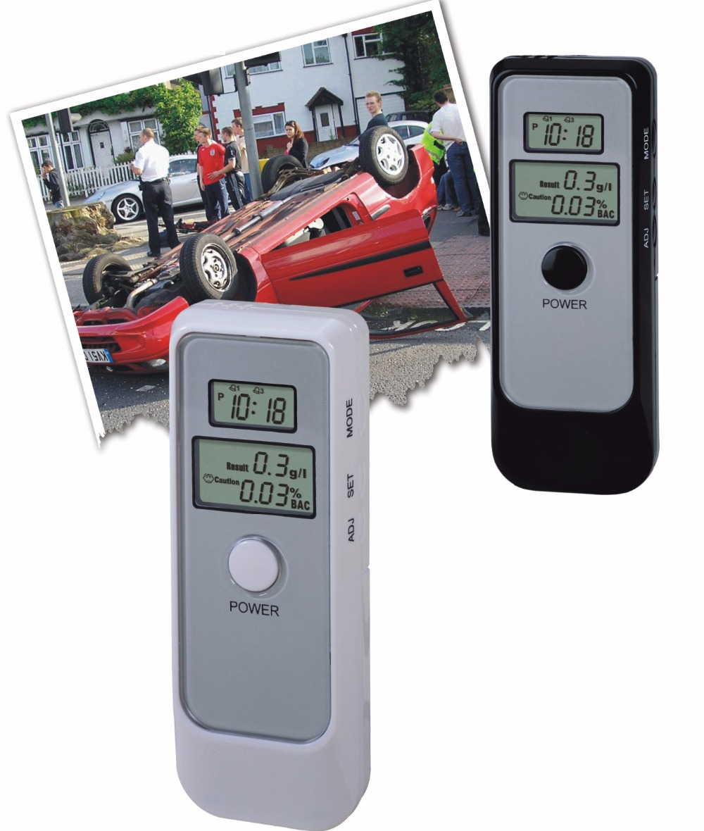 Dual Digital Alcohol Breath Tester with Real time & Alarm clock & Countdown timer Free shipping(China (Mainland))
