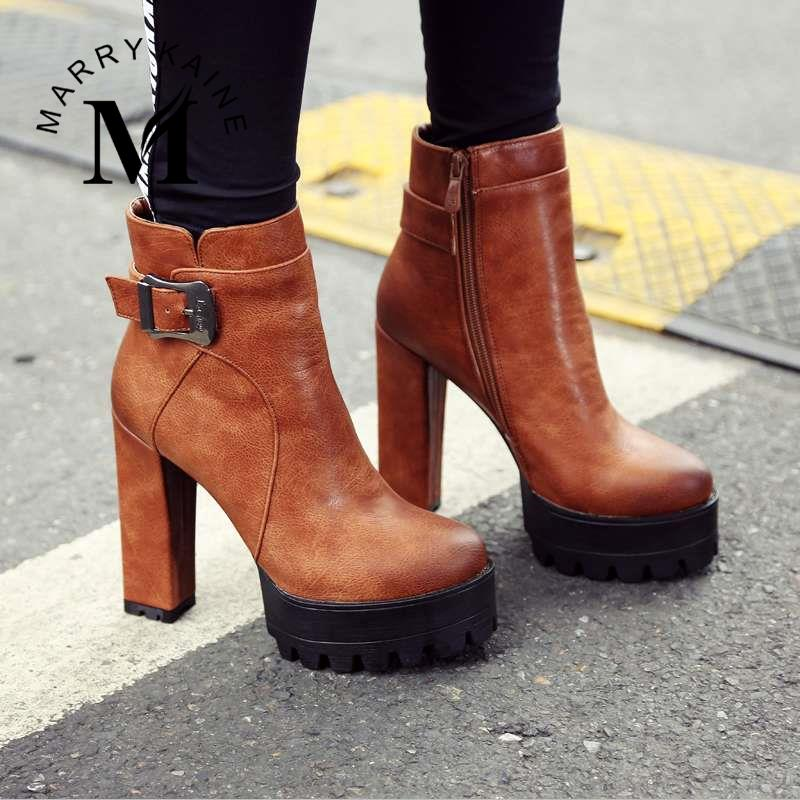 Worthy Buying Platform High Heel Half Knee High Boots Round Toe Square Heel Shoes Large Size Outdoors Buckle Zipper Shoes Lady(China (Mainland))