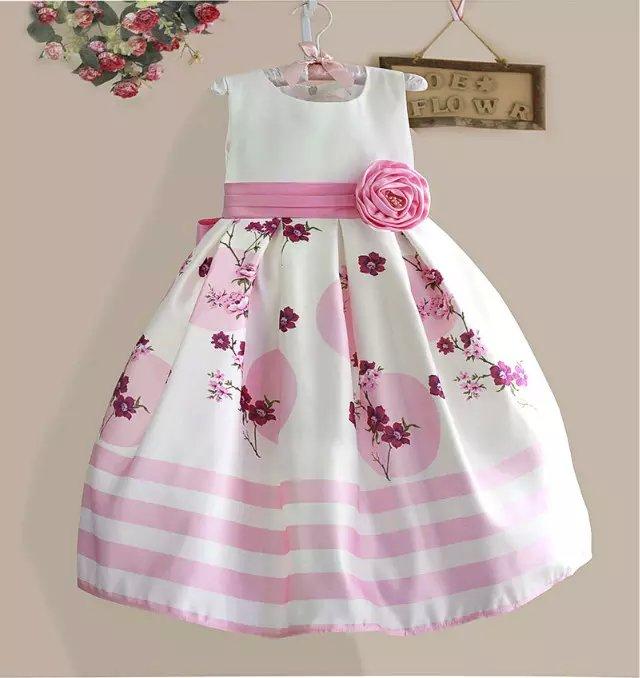 2016 Summer Girls Dress Flower Belt Sleeveless Children Frocks Graceful Girl Princess Dresses<br><br>Aliexpress