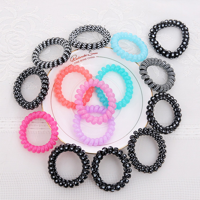 women Girl Black Hairband Telephone Cord Elastic Ponytail Holders Hair Ring Scrunchies For Girl hair Band Tie H0331(China (Mainland))