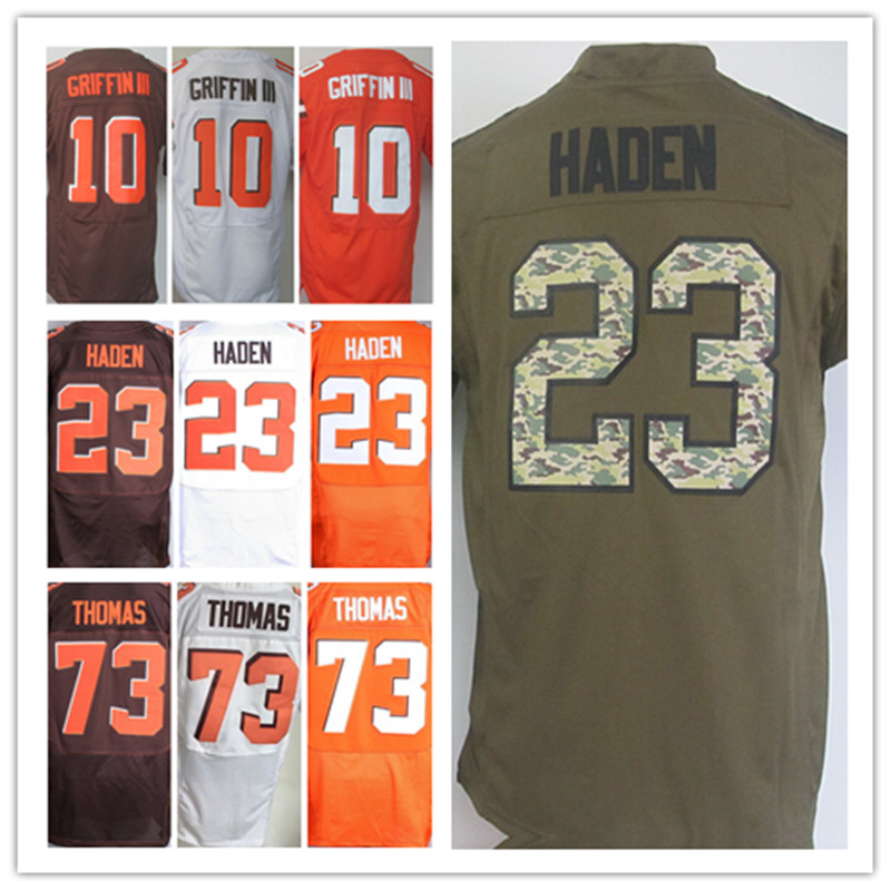 Chaep Men's Elite 10 Robert Griffin III jerseys orange Team Color Stitched White Jersey Joe Haden Sports Jerseys Embroidery Logo(China (Mainland))