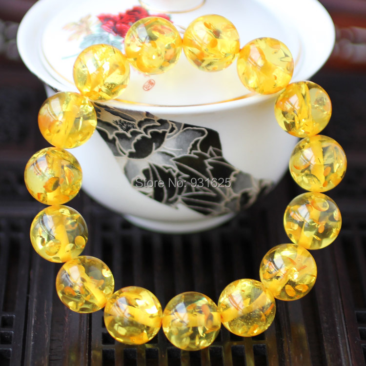 Hot Fashion 10mm 12mm 14mm 16mm Yellow Amber Beads Elastic Bracelet Gem Charm Gold Amber Beads Stretch Bracelets Fashion Jewelry<br><br>Aliexpress