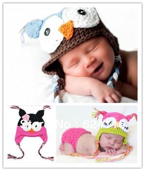 BB25 50pcs/lot Cheap Best Free Shipping via DHL EMS Toddler Owl EarFlap Crochet Hat Baby Handmade Beanie Knitted hat