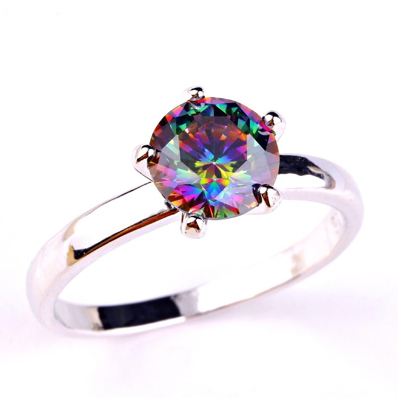 Гаджет  Wholesale New Fabulous Newfashioned Round Cut Rainbow Topaz 925 Silver Ring Size 6 7 8 9 None Ювелирные изделия и часы