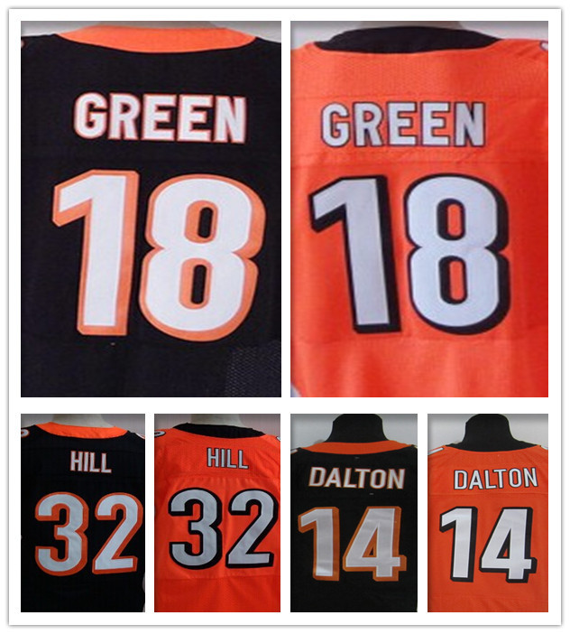 100% Stitiched Cincinnati #18 AJ Green jersey authentic #14 Andy Dalton jersey Bengals Elite #32 Jeremy Hill jersey M-XXXL(China (Mainland))