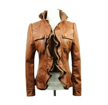 2015 autumn and winter fashion ladies leather jacket lace short paragraph Slim leather jacket motorcycle leather Free shipping(China (Mainland))
